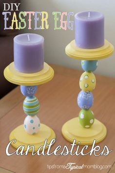 DIY Easter Egg Candlesticks: Looks like wooden eggs (painted) and terra cotta pot bases (painted) and assembled.