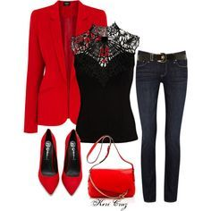 """Can't go wrong with black and red. ... """"Holiday Fabulous"""" by keri-cruz on Polyvore"""