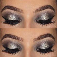 Grey and Silver Eye Makeup Idea