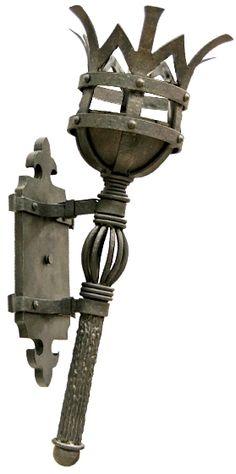 torch sconce - Google Search Metal Bending, Metal Gates, Blacksmith Projects, Iron Art, Rustic Lighting, Metal Art, Wrought Iron, Metal Working, Glass Art