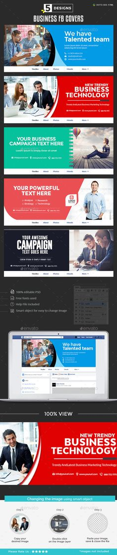 Business Facebook Covers Design Template - Facebook Timeline Covers Social Media Design template PSD. Download here: https://graphicriver.net/item/business-facebook-covers/18921470?ref=yinkira