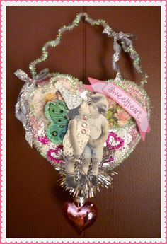 Vintage Inspired Victorian Girl on a Heart by twojackmama on Etsy