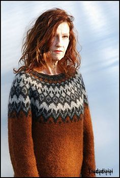 Body and sleeves are worked in the round from lower edge to underarms, then joined to work yoke in the round. Round begins at left side of body. On yoke, round begins Fair Isle Knitting Patterns, Knitting Stitches, Knit Patterns, Icelandic Sweaters, Nordic Sweater, Knit Crochet, Crochet Cats, Crochet Birds, Crochet Food