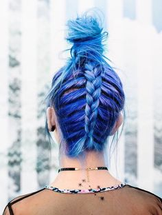 Blue dye with upside down braid hairstyle by zoelondondj