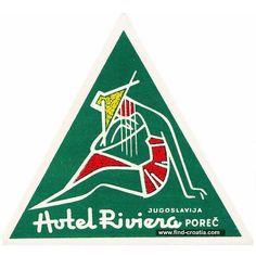 Elegant vintage luggage label from 1950s - Hotel Riviera, Porec, Istria, Croatia