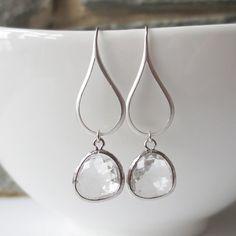 Drop Earrings, Dangle Earrings, Chandelier, Wedding Jewelry, Bridesmaid Earrings, Crystal, Clear Dangle, Silver Teardrop