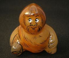 #Selenite #figurine #Neanderthal, a #caveman with an #axe #hand #painted on #stone