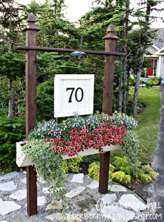 House Number Sign and Planter - Great Curb Appeal Idea!