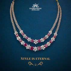 Ruby Necklace Designs, Gold Jewellery Design, Diamond Jewellery, Ruby And Diamond Necklace, Diamond Necklaces, Gold Jewelry Simple, Gold Necklace Simple, Necklace Set, Ruby Jewelry
