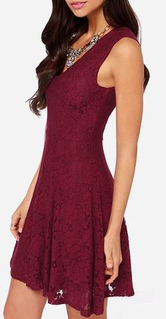 Sleeveless Burgundy Lace Dress