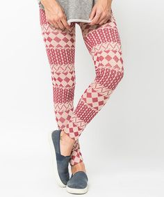 This Burgundy Nordic Diamond Fleece-Lined Leggings is perfect! #zulilyfinds