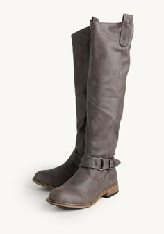 Parksville Riding Boots - deep taupe faux leather with silver-toned buckles - out of stock