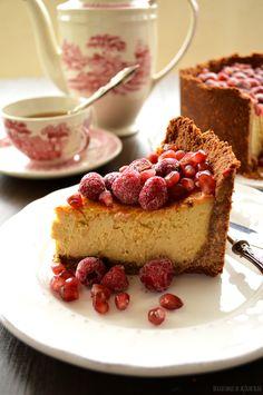 Bocadinhos de Açúcar: Cheesecake com framboesas e romã