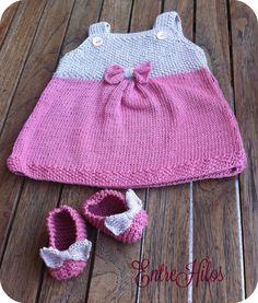 vestidos tejidos con agujas para bebe con patrones