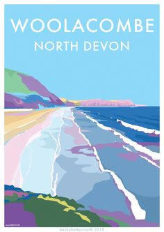 Woolacombe, North Devon vintage style seaside travel poster, available at http://beckybettesworth.myshopify.com/
