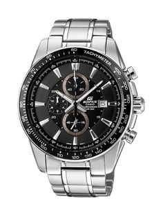 Casio Edifice EF-547D-1A1VEF Men's Analog Quartz Watch with Black Dial, Chronograph and Stainless Steel Bracelet