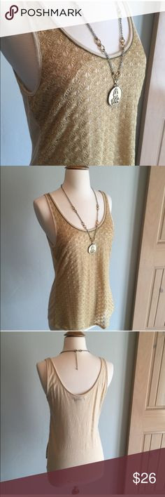 ❗️ SALE TODAY ONLY ❗️ Lucky Brand gold knit tank In excellent used condition. Lucky Brand Tops Tank Tops