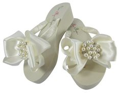 5617644b09c1 Pearl Satin Bow Bridal Flip Flops  rhinestone  ivory wedge platforms  or  white flat  choose heel hei