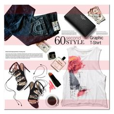 """""""60 Second Style: Graphic T-Shirts"""" by asteroid467 ❤ liked on Polyvore featuring Abercrombie & Fitch, True Religion, Kate Spade, Paul Andrew, Ilia, polyvorecommunity, polyvorecontest, 60secondstyle and PolyvoreMostStylish"""