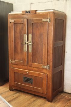 Frigo vintage norge 1960 relook customis creation brocantetendance meuble industriel - Meuble glaciere bois ...