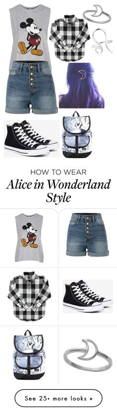 """""""Untitled #287"""" by frogsareevil on Polyvore featuring Topshop, LE3NO, Converse, Disney, Midsummer Star and Rock 'N Rose"""