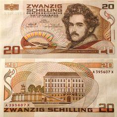 Austria 20 Schilling 1986 Moritz M. Albertina Museum in Vienna. 11 September 2001, Money Template, History Of Philosophy, Money Notes, Moritz, World Coins, Postage Stamps, Austria, Thing 1