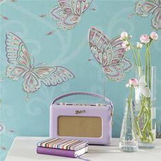 Turquoise Blue - 10301 - Papillon - Butterflies Butterfly Holden Decor Wallpaper | eBay
