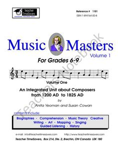 Music History:  Music Masters 1 from Teacher Timesavers on TeachersNotebook.com (118 pages)