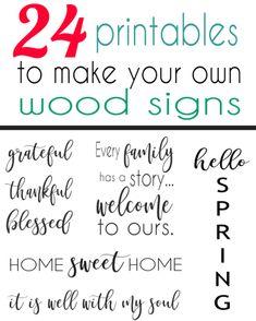 printable sayings to make your own DIY wood signs