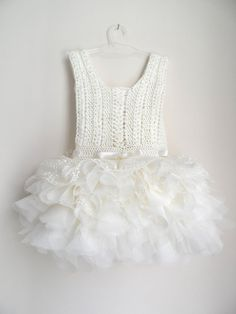 Ivory lace and tulle Baby Tutu Dress. Baby dress with Lace Stretch Crochet Bodice.