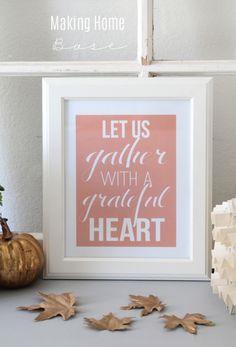 Fall Vignette with Grateful Heart Printable www.makinghomebase.com