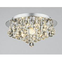 Dar PLU5250 Pluto 3 light modern ceiling light flush polished chrome finish