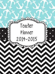 Nautical Chevron Teacher Planner Binder Covers and Spines