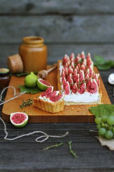 Custard tart with thyme and figs