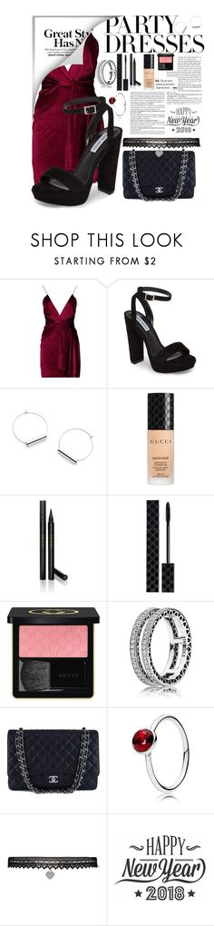 """New Years Party"" by paige2206 ❤ liked on Polyvore featuring Boohoo, Steve Madden, Gucci, Pandora, Chanel, Betsey Johnson and Cricut"