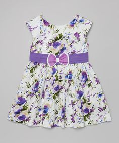 Another great find on #zulily! Purple Floral Bow Dress - Kids #zulilyfinds