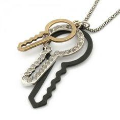 Fashion key shape  rhinestones necklace