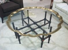 Scalloped Brass Pie Crust Cocktail Table by Baker * Hollywood Regency, LaBarge, Barbara Barry