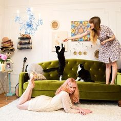 This room is very put together. Between the rug, the couch, and those adorable kitties, I'm sold! #UrbanOutfitters