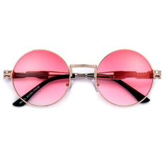 7b031b57b6 53mm Round Artistry Crafted Thick Temple Boho Sunnies. Pink Sunglasses ...