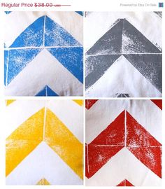 Hand Printed Chevron Pillow, Large 16 x 24 Pillow, Nesta Home, Arizona, USA