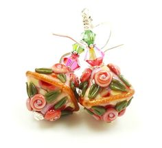 Floral Lampwork Earrings Pink Peach Green Sterling by BeadzandMore, $31.00