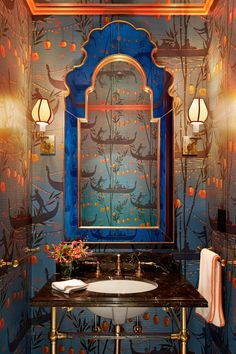 Powder Room Renovation Inspiration: To be brave or relaxed, that& the question . Powder Room Renovation Inspiration: To be brave or calm, that& the question – Apartment Bathroom Design, Bathroom Interior Design, Interior Decorating, Diy Decorating, Interior Ideas, Powder Room Wallpaper, Powder Room Design, Chinoiserie Wallpaper, Chinoiserie Chic