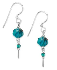 Teal beauty. Jody Coyote's double drop earrings add a chic pop of color. Set in sterling silver. Approximate drop: 1-1/2 inch. | Photo may have been enlarged and/or enhanced. | This item cannot be shi