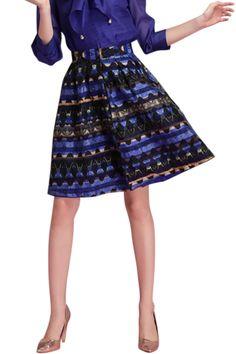 Retro Floral Print A-Line Skirt