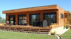 Chalets en bois www. Container Home Designs, Prefab Homes, Modular Homes, Mobile Home Porch, Off Grid House, Surf House, Casas Containers, Backyard Cottage, Exterior Cladding