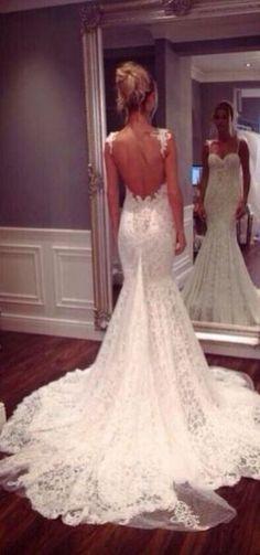 Adorable Vintage Wedding Dresses Lace Backless Trends Ideas 10
