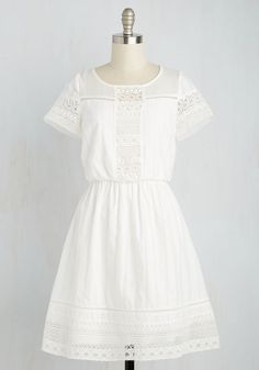 Cutie on Duty Dress - White, Solid, Eyelet, Casual, Sundress, A-line, Short Sleeves, Spring, Woven, Better, Mid-length, Cotton