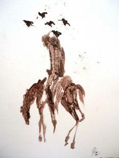 ¨Quijote, caballo y cuervos¨ De la serie Quijotes de Ricardo Perez Alcala oleo s. papel