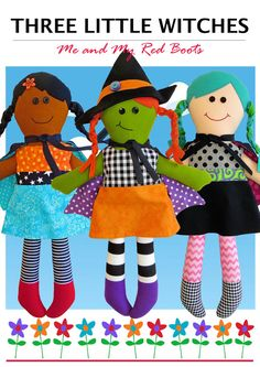 Three Little Witches Halloween Dolls  PDF by TheRedBootQuiltCo